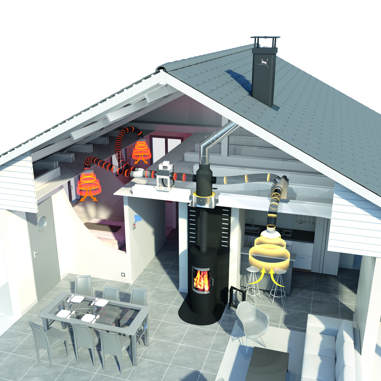 confort distribution d 39 air chaud pour foyer po le bois. Black Bedroom Furniture Sets. Home Design Ideas